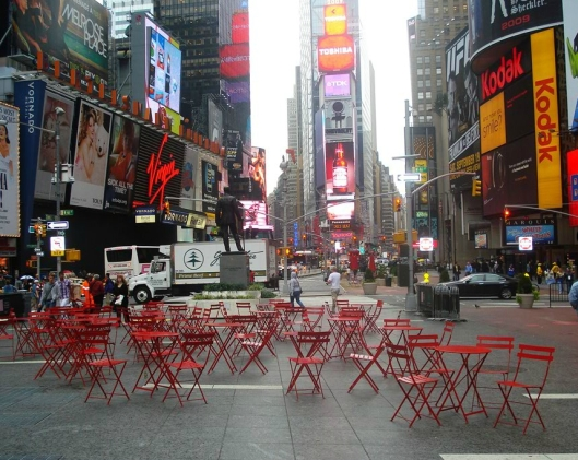 Bistro chairs and tables in Times Square, New York