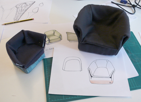 Coat armchair Sebastian Herkner - Design process